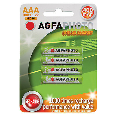 AGFAPHOTO Rechargeable Nimh Battery - Pack of 4 (Size AAA mAh 400)