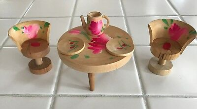 Sweet Vintage Hand Painted Doll House Miniature Table And Chairs Set Japan