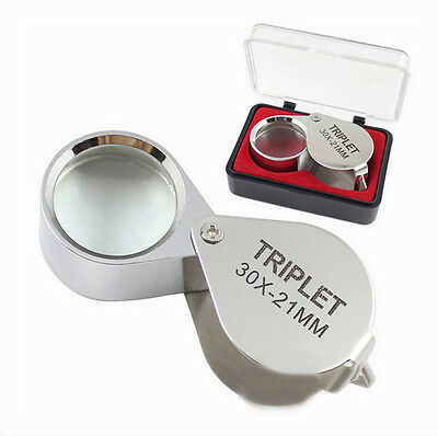 Portable Jewellers Pocket Lens 30X 21mm Loupe Magnifying Eye Glass Magnifier EB