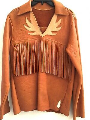 RARE Vintage Leather Fringe Native American Lightening Bolt Mountain Man Shirt S