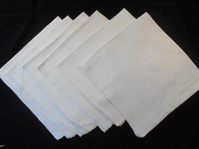 "6 Vintage White Irish Double Damask Linen Dinner Napkins 21""x22"",ribbon Pattern"