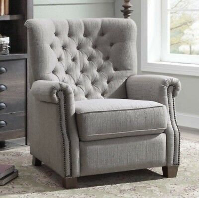 Gray Tufted Push Back Recliner Armchair Recliners Nailhead Arm Chair Chairs Grey