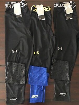Big Boys Under Armour Steph Curry 30 Black or Blue SC Tights Youth L XL NEW Pant