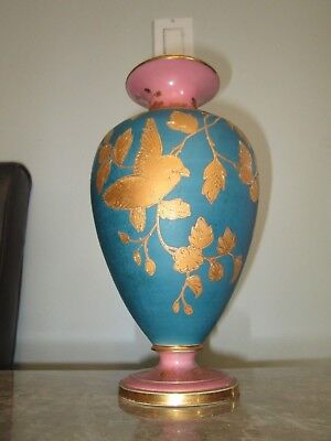 Antique Pink Blue Real Gold Matte French France Vase Bird Leaves