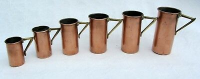 Art deco Italian set of 6 Copper and brass dairy Measures