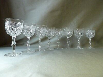 8 ANTIQUE WEBB /TUDOR CRYSTAL RUSSELL CUT WINE GLASSES, 1 SIGNED, h12,8-13,7cm