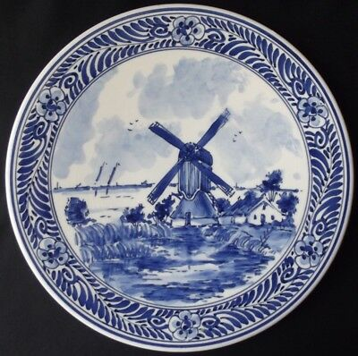 Vintage Delft Holland Hand Painted Blue & White Windmill Display Plate  8-1/8""