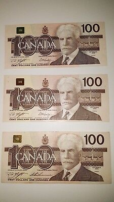 Bank Of Canada 1988- 3- 3 Digit Bank Notes Selling For $175 Each