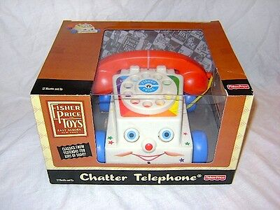 2009 Basic Fun Fisher Price Chatter Telephone Vintage Remake New in Box Pull Toy