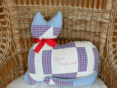Antique Friendship Quilt and vintage chenille bedspread Kitty Cat Pillow Agnes
