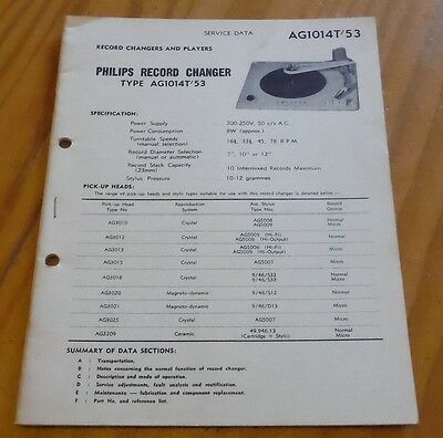Philips Service Data Record Changer type AG1014 T/53 gramophone radiogram 1959
