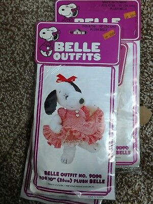 """Vintage Peanuts Snoopy Plush Belle Costume 10"""" Outfit Ruffled Dress"""
