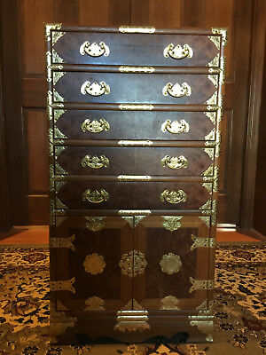 Chinese Silverware Teakwood Chest or Jewelry/Lingerie Chest