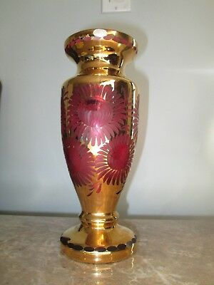 Vintage Gold Plated Cranberry Bohemian Etched Sunflower Glass Vase Foil Labels