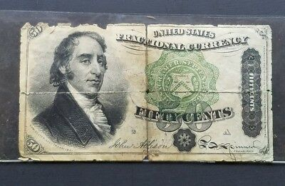 """RARE! 50c 3rd ISSUE FRACTIONAL CURRENCY W/ TEARS AND PINHOLES """"DEXTER"""" LOW GRADE"""