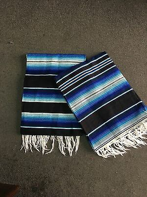 TWO PIECE SERAPE SET ,5' X 7',Mexican Blanket,HOT ROD, Covers, XXL ,BLUE  MIX