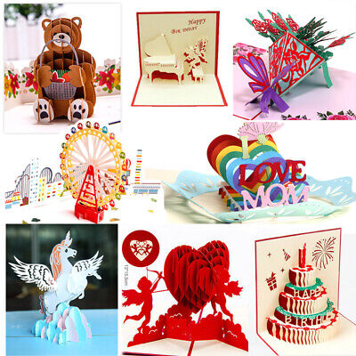 3D Pop Up Greeting Cards Birthday Love Wedding Gift Holiday Anniversary Postcard