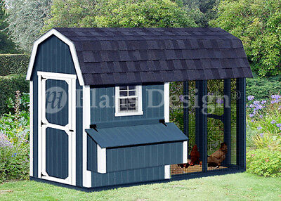 4' x 8' Combination Barn Chicken Coop Plans, Material List Included #80408CB
