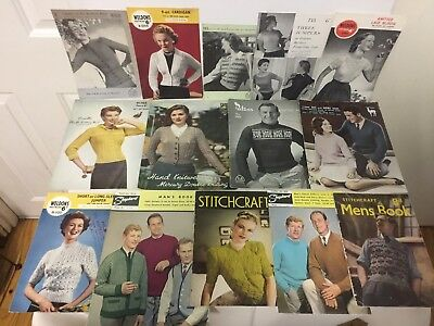 15 Vintage Knitting Patterns. Men's and women's garments.