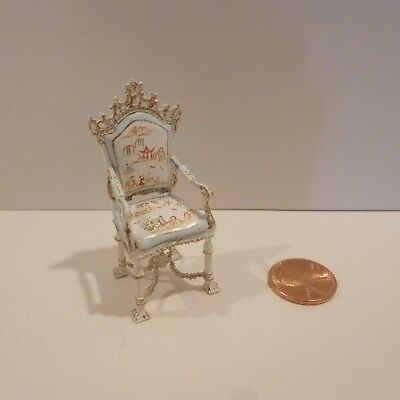 """Lovely 1/2"""" Scale """"versaille"""" Arm Chair       Hand Painted Design On Fabric"""