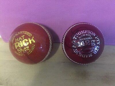 2 x Cricket Balls, 1 HatTrick 5 1/2 oz Like New, 1 A.G.Thompson Red King 142 gm.