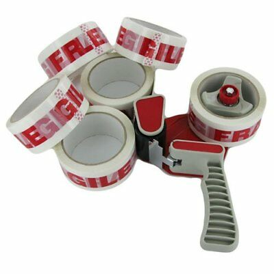 TAPE DISPENSER GUN + 2 LARGE ROLLS OF FRAGILE PARCEL PACKAGING TAPE 48mmX 66M