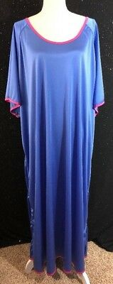 VTG Lane Bryant Womens Plus Size 4x Blue Pink Long Nightgown Pajamas Sleepwear