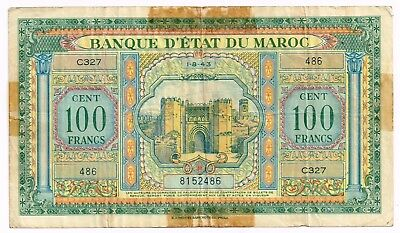 1943 MOROCCO 100 FRANCS NOTE - p20