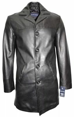 Men/'s Knee Length Leather Coat Black Classic 3//4 Trench Real Lambskin Coat 1476