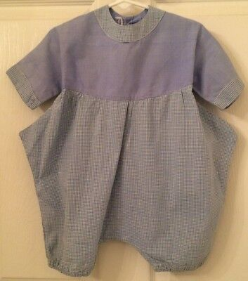 vintage baby girl romper, blue and white cotton