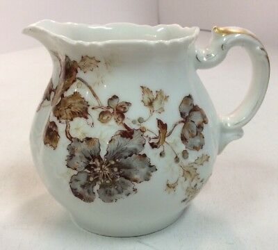 "Haviland Limoges H & Co L 4"" Tall Ceramic Pitcher Antique Fall Flower Berry"