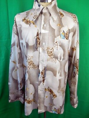 Vintage 1970s Brown Polyester Bird Print K-mart Label Disco Party Shirt L 100cm
