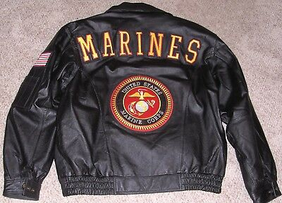 This Auction Is For A Us Marine Core Black Leather Coat Size 2X (New)