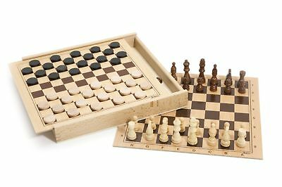 Jeujura JeujuraJ8133 Chess and Checkers Game in Wood Box