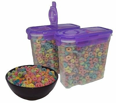 Dry Food Storage Plastic Containers with Clip Lock Purple Lid 50 oz. 2-Pack