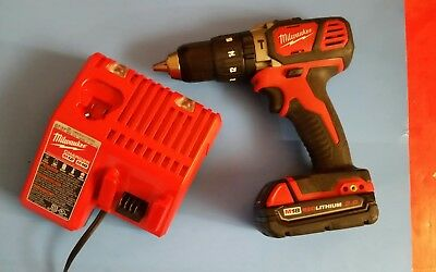 Milwaukee M18 Hammer Drill 2607 W/ M18 2.0 Ah Battery, Charger
