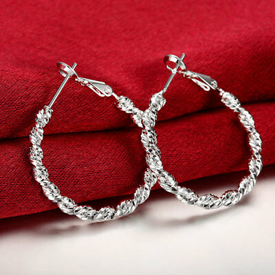 Womens 925 Sterling Silver Twisted Rope Vogue 30mm Round Hoop Earrings #E154