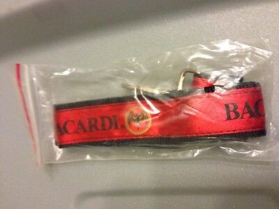 Brand New Bacardi Lanyard - Red & Black One-Piece Strap, Strong Metal Clip