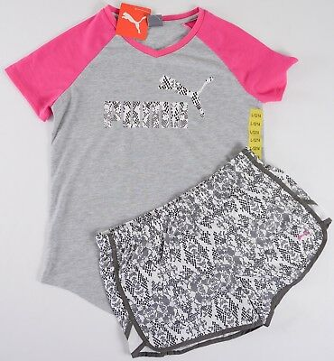 NWT Girls Puma 2 Piece Athletic Jersey Short Set Lined Shorts M L