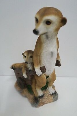 Meerkat And Cart Animal Garden  Statue Ornament Figurine Sculpture Large