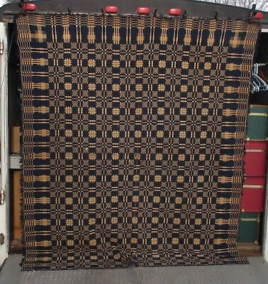 "1800s Antique Blue & Gold Hand Woven 2-Panel Coverlet Bedspread 77"" x 89"""