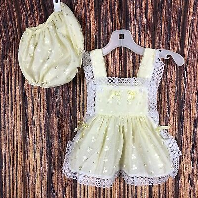 Vintage Yellow Apron Top Bloomer Set 0-6 Months Lace Open Sides