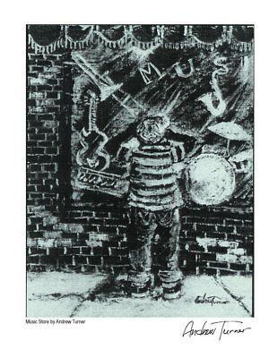 Music Store Mini Print by Andrew Turner African American Art - New