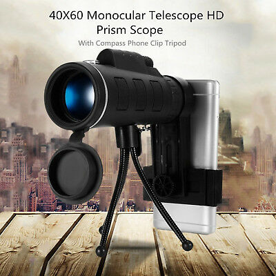 Monocular Telescope Compass HD Vision Optical 40X60 Outdoor Tripod Phone Clip