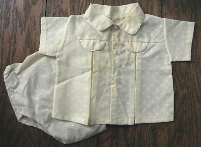 Vtg Baby Toddler Yellow Shirt w/ Matching Plastic Pants Nylon Print 1950's-60's