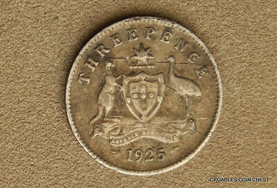 1925 Silver Threepence Advance Australia Readable Predecimal Coin #hvj40