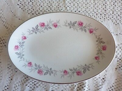 MYOTTs ENGLAND CAKE OR SANDWICH PLATE FINE WHITE IRONSTONE PINK ROSES