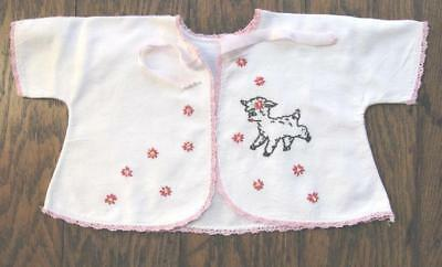 Vtg Baby Hand Embroidered Lamb White Flannel Kimona Jacket Pink Crochet Edge