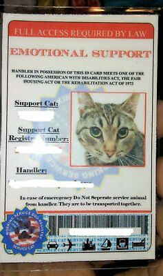 Emotional Support Cat ID Card Tag ESA Cat ID Service Animal Cat Collar IDCard