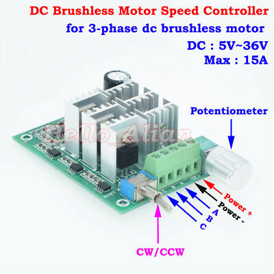 DC 5V 12V 24V 3-Phase Brushless Motor Speed Controller Driver CW CCW Reversible